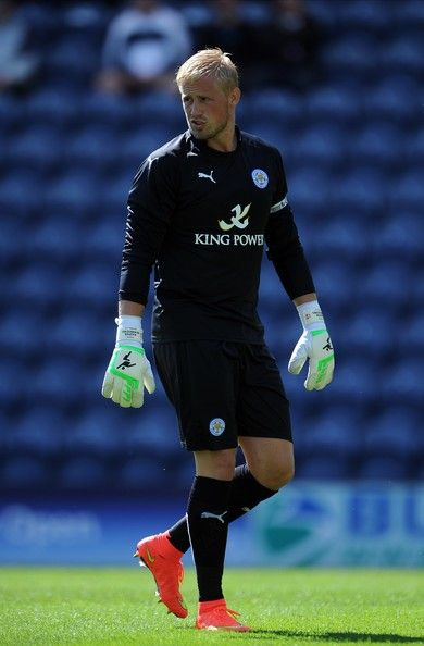 Kasper Schmeichel of Leicester City in action