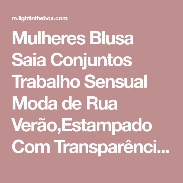 Mulheres Blusa Saia Conjuntos Trabalho Sensual Moda de Rua Verão,Estampado Com Transparência Fenda Chifon Patchwork Poliéster Decote de 2018 por R$55.17