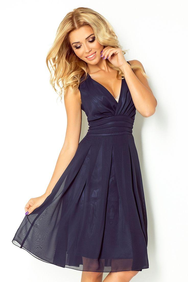 Dámské šaty   Dámské šifonové šaty NUMOCO modrá   šaty skladem