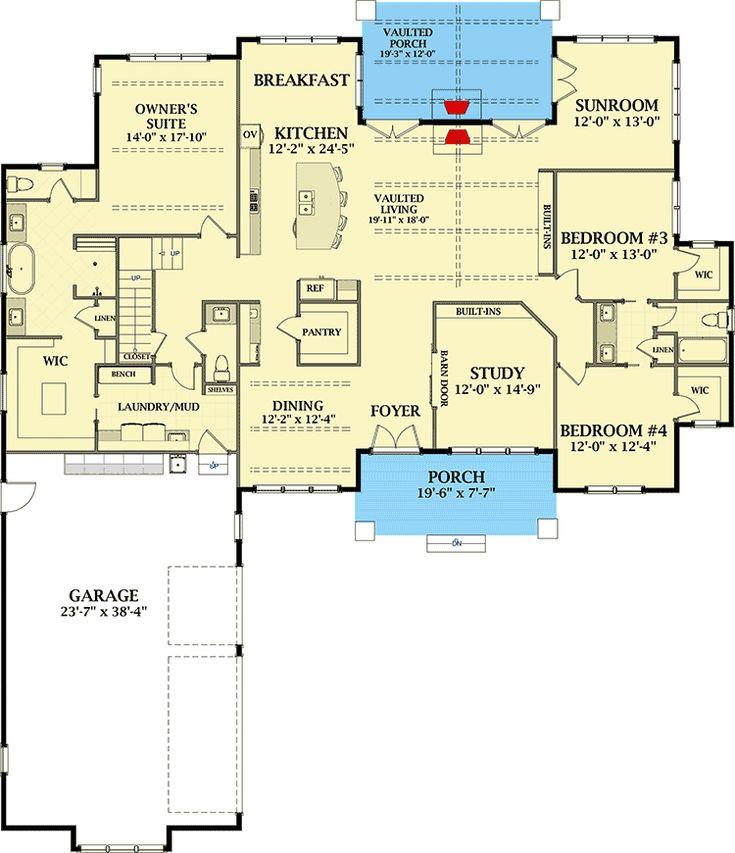 Plan 46332LA: Grand Farmhouse House Plan with Optional Second Floor