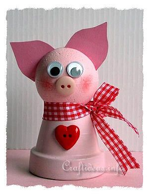 Spring Craft for Kids - Cute Clay Pot Pig Craft