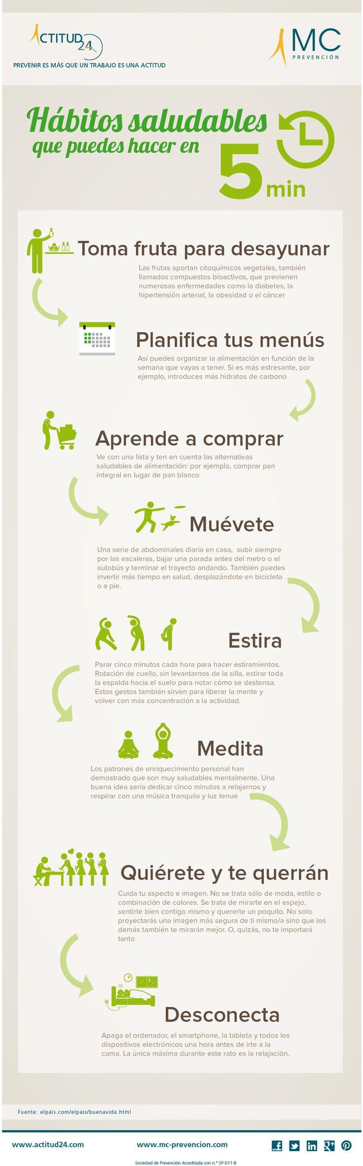 #Infografia sobre Hábitos saludables que puedes hacer en cinco minutos. #salud bBienestar #habitos #consejos #tips #saludable #cambio #transformacion #control