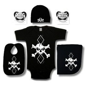 Argyle Skull Baby Gift Set - Cool Baby Gift Sets - Crazy Baby Clothing