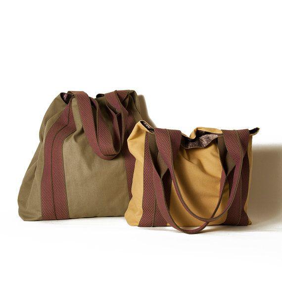 Ocher tote bag Olive green tote bag Medium by ElenaVandelliBags