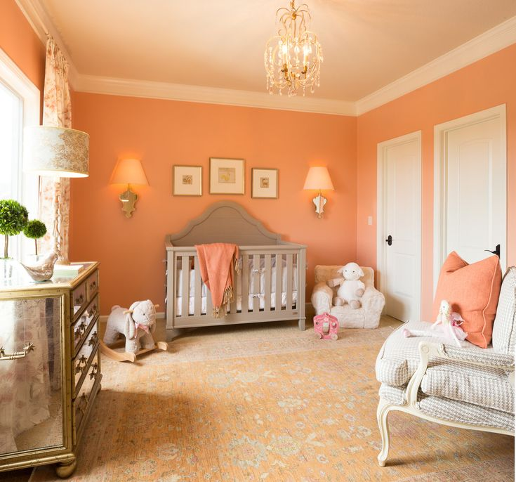 Good Looking Coral Baby Nursery convention Kansas City Traditional Nursery Decoration ideas with chandelier coral and gray