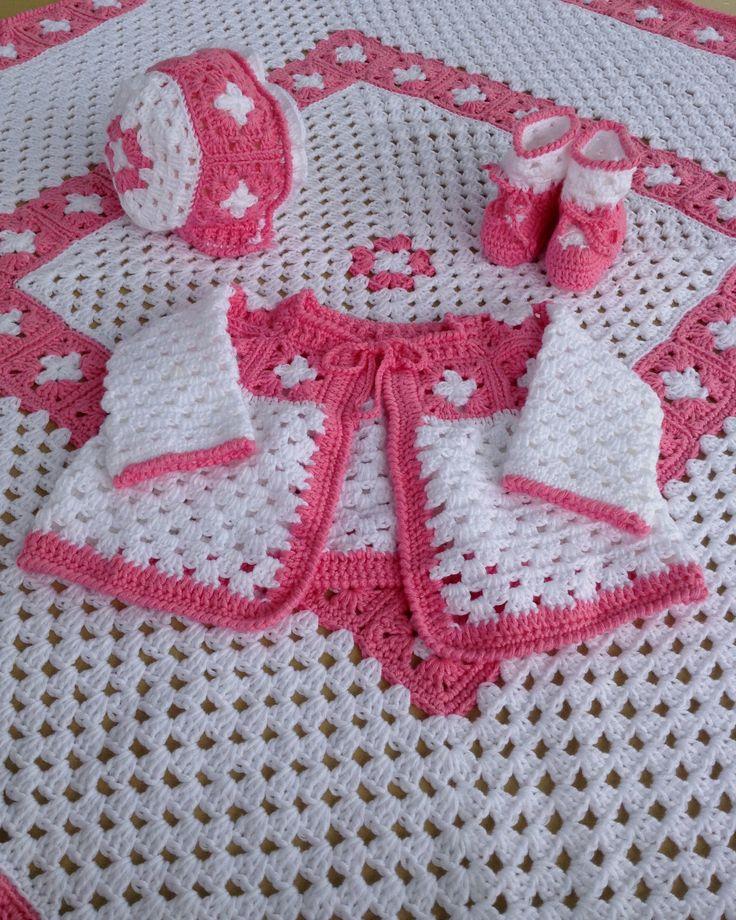 Conjunto niña crochet en rosa y blanco