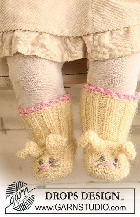 """DROPS kanintofflor i """"Baby Merino"""" och """"Kid-Silk"""" till påsk. ~ DROPS Design"""