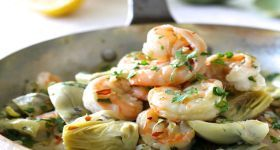 Shrimp Scampi with Shallots and Artichokes