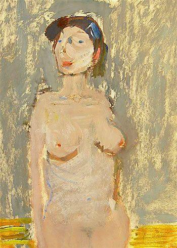 Artur Nacht-Samborski, Female nude on the grey background / Akt kobiety na szarym tle on ArtStack #artur-nacht-samborski #art