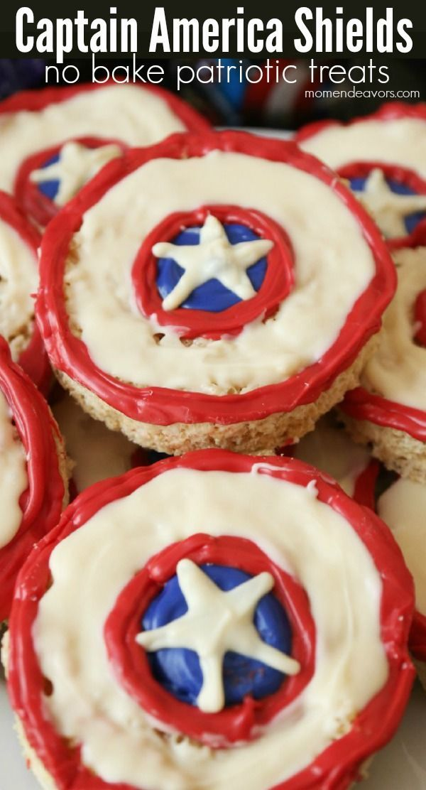 Captian America Shield Patriotic No-Bake Treats - Perfect for 4th of July festivities or an Avengers Party!!