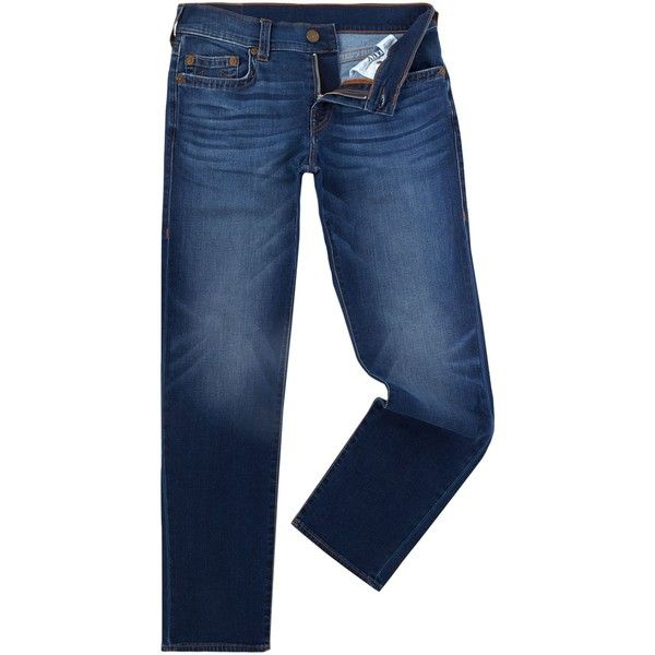 True Religion Geno Indigo Lake Mid Wash Tapered Jeans ($230) ❤ liked on Polyvore featuring men's fashion, men's clothing, men's jeans, men jeans, mens indigo jeans, mens jeans, mens tapered jeans, mens slim fit tapered jeans and true religion mens jeans