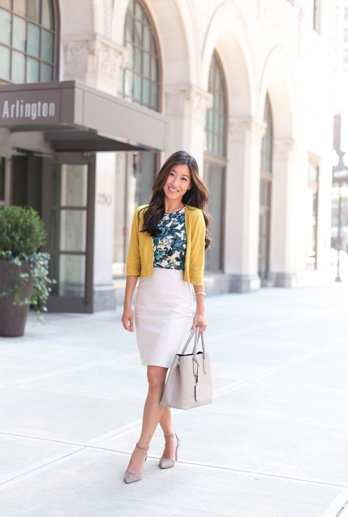 professional work outfit ideas for a business casual office // crop cardigan + pencil skirt + floral top