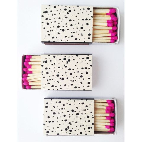 Spotted and fuchsia matchboxes