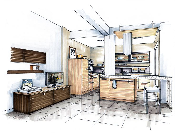 Hand Rendering Mick Ricereto Interior Design Kitchen Sketch