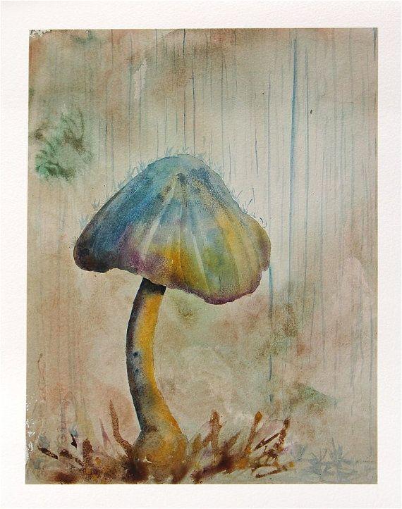 mushroom watercolor painting blue grey rain by SunnyLeeStudio, $25.00