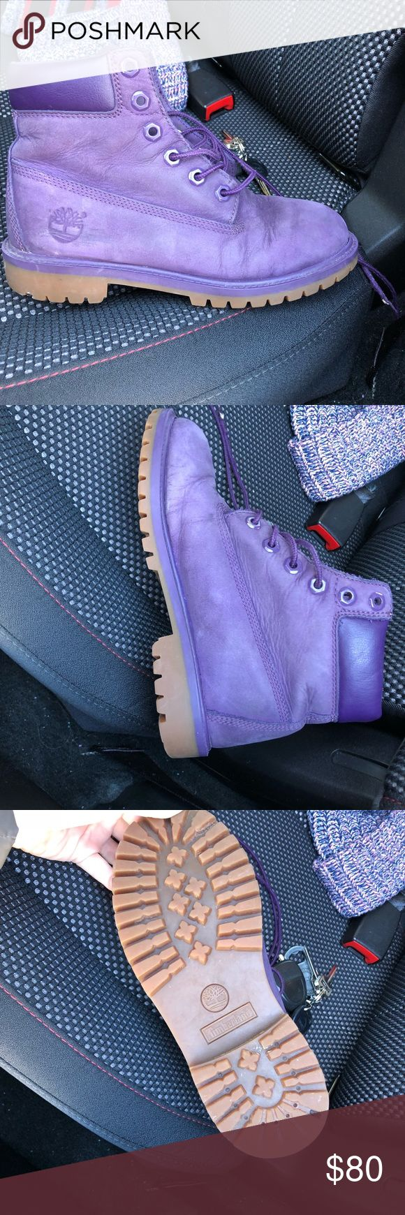 Timberland Boots girls size 4 Purple timberland boots, girls size 4 but can fit adult 5.5-6.5 only worn a couple of times and look brand new Timberland Shoes Winter & Rain Boots