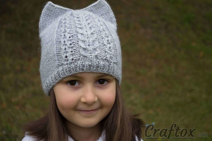 Knit cat ear hat. Free pattern with chart. Cute and unusual cat hat with ears. Your child will definitely like it. The hat is knitted very easy, and will not take much of your time.