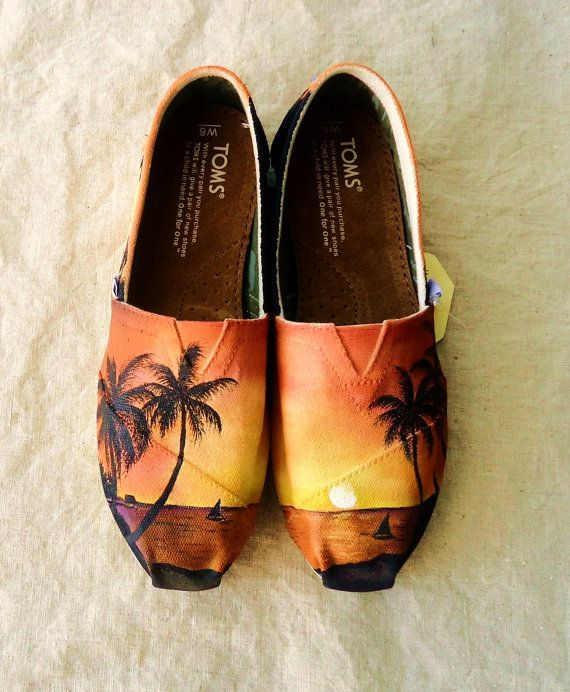 THESE ARE MY FAVORITE!!! Tropical Sunset TOMS by LamaLand on Etsy, $165.00