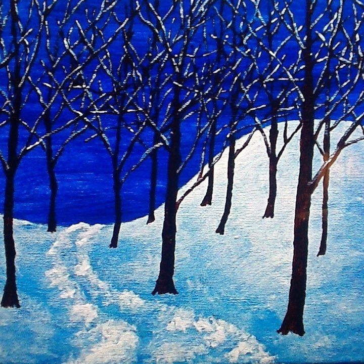 A Walk In the Woods - #blue #sky #black #brown #tree #trees #forest #woods #shopsmall #white #snow #path #trail #christmas #xmas #hanukkah #chanukah #kwanzaa #eid #etsy #etsyfind #etsyfinds #etsyshop #etsyseller #etsygifts #gift #gifts #present by mikekrausart