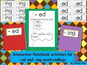 Perfect activity for an interactive notebook.Includes:12 -ed words and 12 -ing words4 Blank templates at the end for whatever word you choose.Each interactive pamphlet has a spot for word, base word, suffix ending and sentence.  Glue only the sentence side to the notebook or Word side to the notebook.