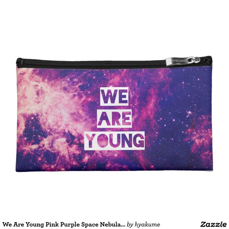 We Are Young Pink Purple Space Nebula Stars Makeup Bag