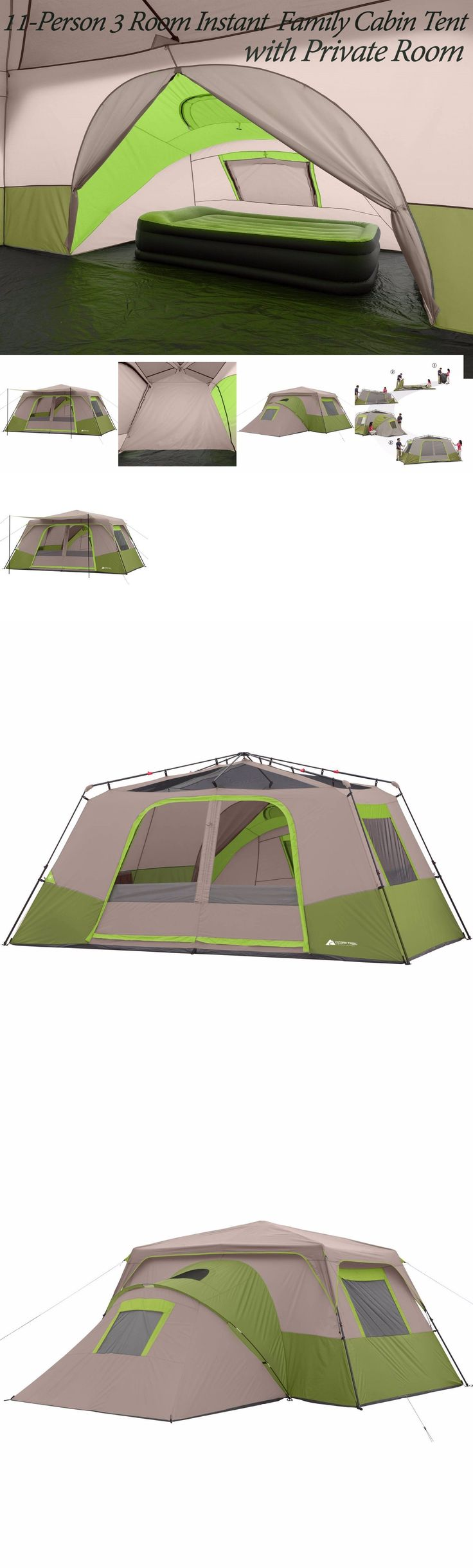 Tents 179010: Ozark Trail 11 Person 3 Room Instant Cabin Family Large Tent Camping Green Beige BUY IT NOW ONLY: $213.93