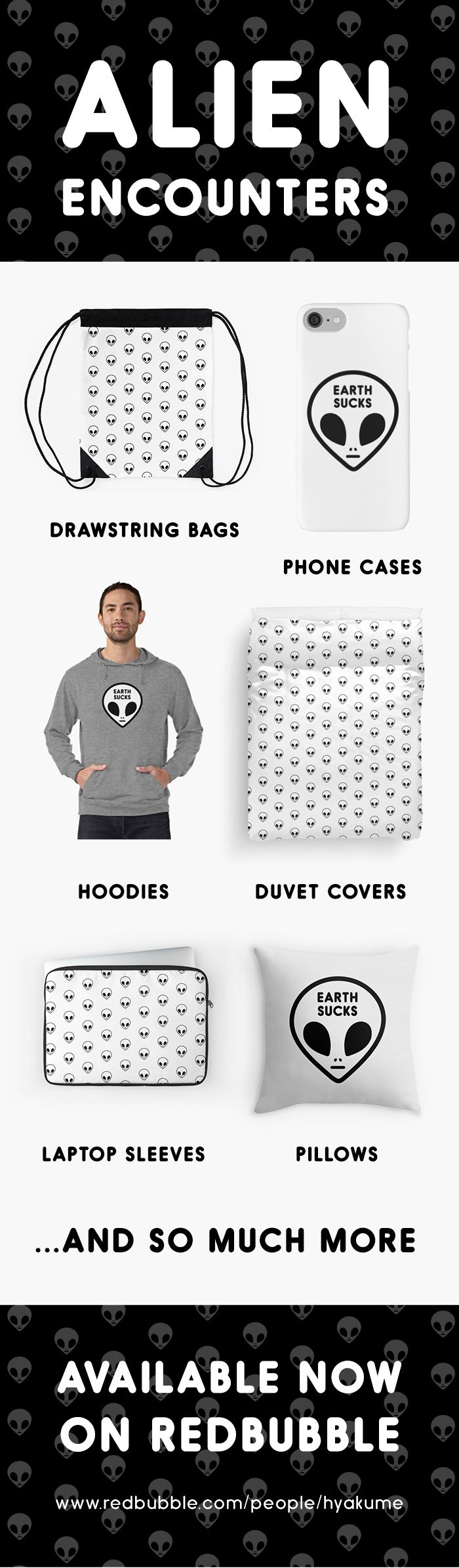 alien encounters - cool, simple and funny alternative indie minimalist grunge aesthetic black and white alien pattern designs inspired by and appreciating outer space - alien designs available on iPhone cases, covers and skins, laptop sleeves, home decor items, apparel, stationery, and so much more http://www.redbubble.com/people/hyakume check out my #minimalist #alien #iphone7 case designs @redbubble