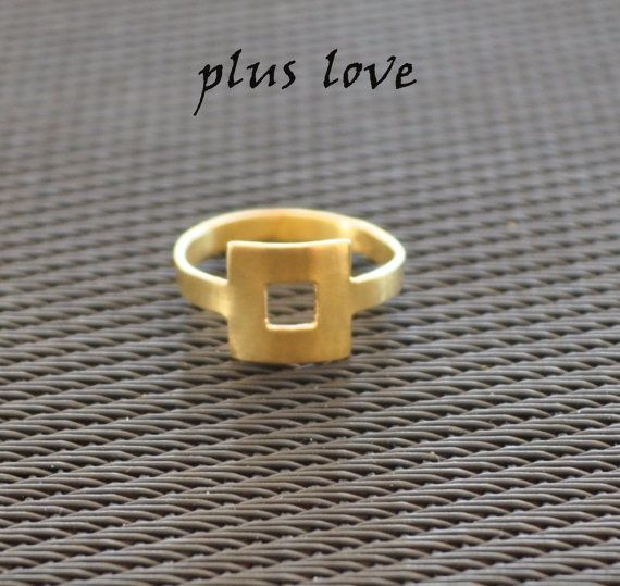 Square Ring Minimalist ring Band ring Statement by PlusLoveStudio - 30.95euro