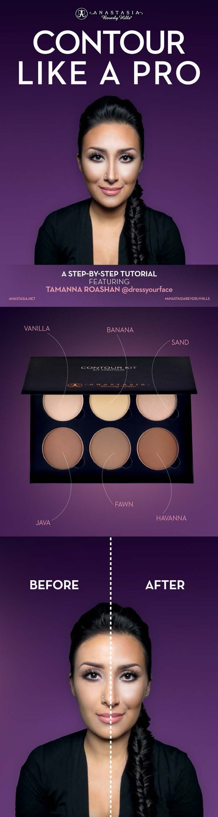 Before after with the new Anastasia contouring palette.: