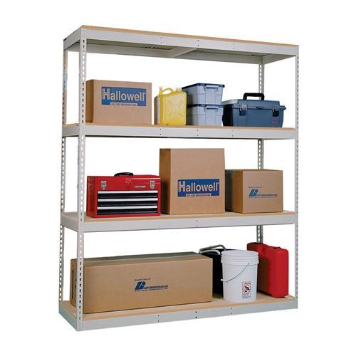 "Hallowell DRCC601884-4A Rivetwell 60""W x 18""D x 84""H 4 Levels Add-on Double Rivet Boltless Shelving in Parchment with Center Support Unit Decking Not Included"
