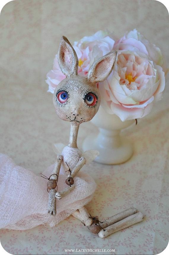 Pink Shabby Chic Poseable Rabbit