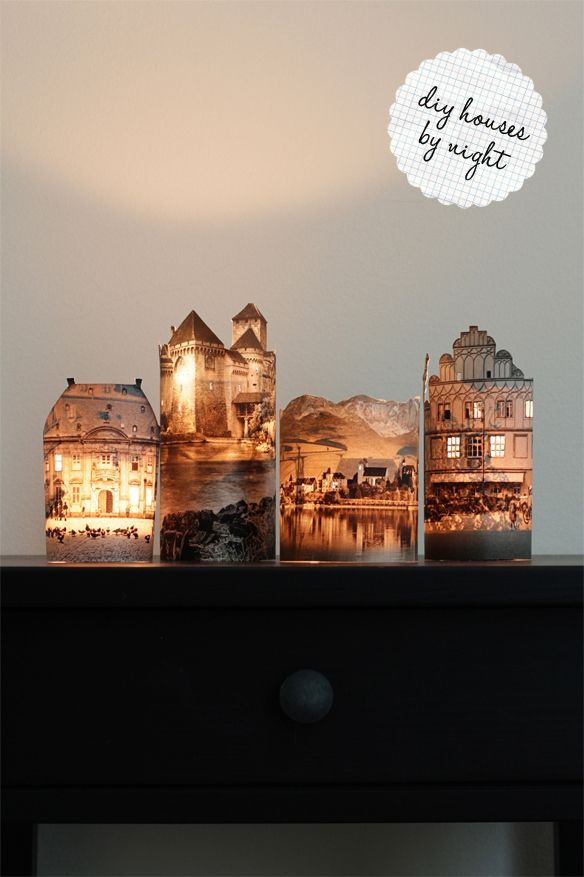 Neat lighted houses or castles!: Diy Ideas, Night Lights, Candles Holders, Teas Lights, Castles, Diy Gifts, House, Cut Outs, Photo