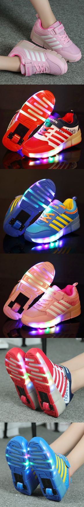 2016 Children Roller Sneaker With One Wheel LED Lighted Flashing Roller Skates Kids Boy Girl Shoes Zapatillas Fashion $23.8