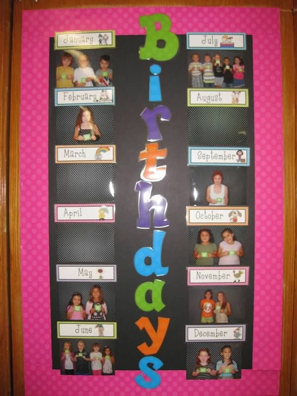 Birthday Board - I like cutting out the students pictures individually so you…