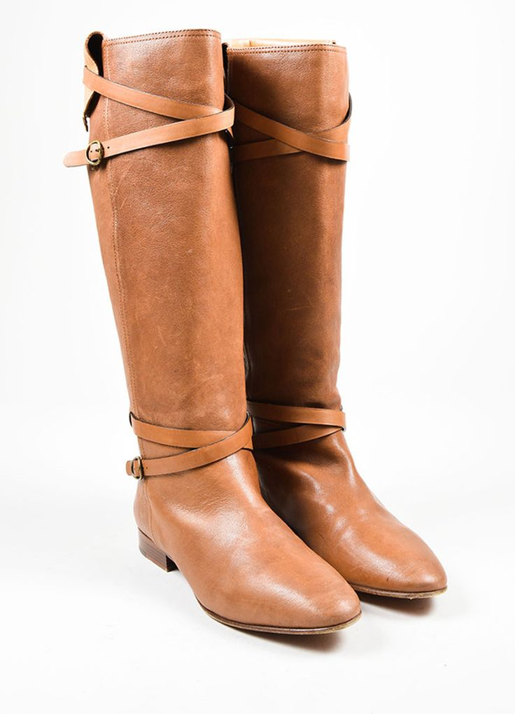 Chloe Brown Strap Buckle Knee High Boots