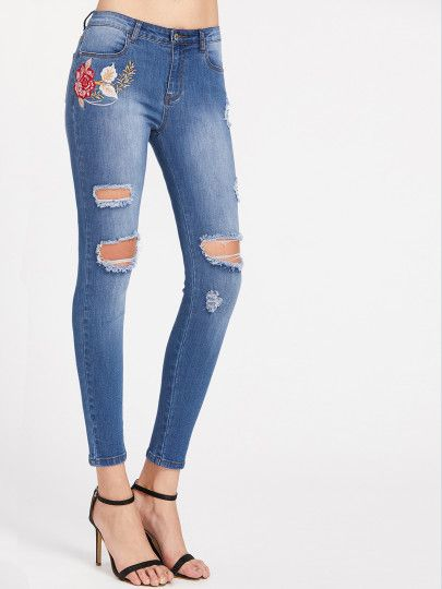 Çamaşır suyu Yıkama Çiçek İşlemeli Destroyed Skinny Jeans