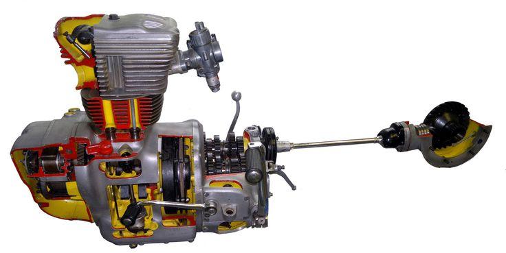 https://flic.kr/p/cFFXaG | Simson-425S-52-w | Der Antrieb der Simson 425 S von 1956 (anfangs AWO 425 S) im Schnitt mit 10 kW (14 PS) bei 6300 Undrehungen aus 248 ccm