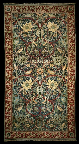"William Morris ""Hammersmith"" Carpet, 1889 - This hand-knotted carpet is the first weaving of a design made by William Morris and his assistant J.H. Dearle. Two later weavings of the design were made. All of Morris & Co.'s hand-knotted carpets are called 'Hammersmiths' after the location of his London home, where they were first woven. Victoria & Albert Museum #William_Morris #Morris_and_Co. #Arts_and_Craft #Hammersmith #rug #carpet"