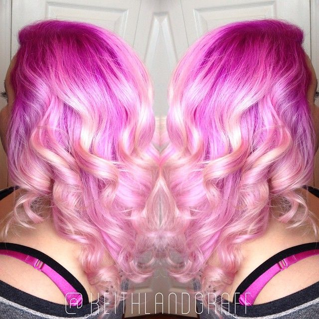Definitely Pretty In Pink Beautiful Intense Pink Melting Into Light Pink And Blonde Strands