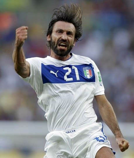 He's still got it!  On his 100th cap for Italy Pirlo's free kick gave Italy the lead. The beard, the hair, the talent. Living legend. Italy went on to beat Mexico 2-1.