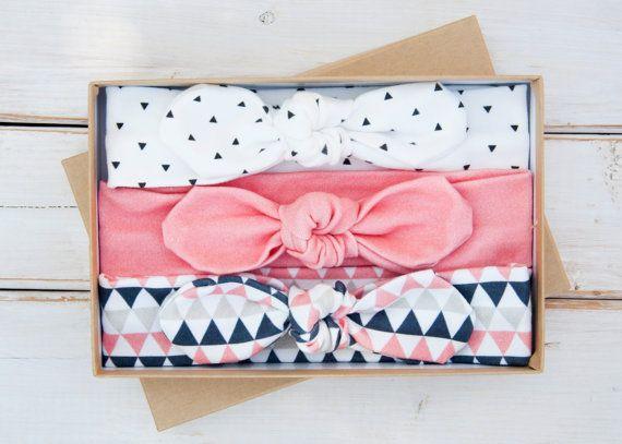 Organic Cotton Jersey Knot Headband Set of Three - Triangle Print - Geometric - Coral - Navy - Black - Baby Girl Headwrap - Toddler Turban