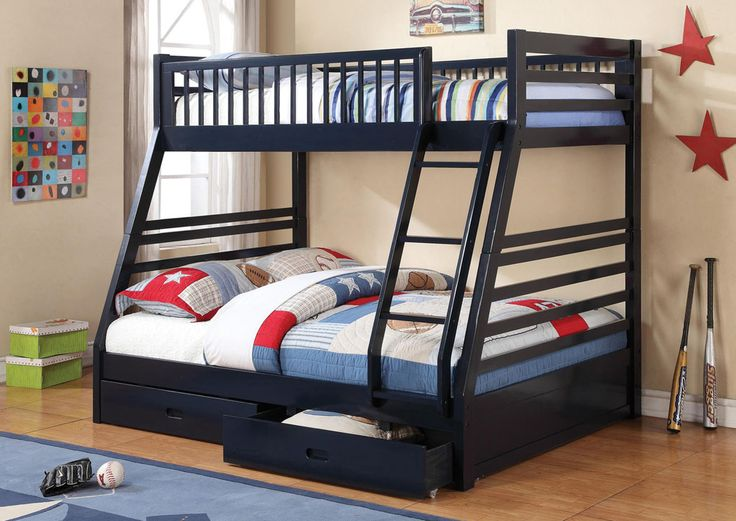 Cozi Furniture Navy Blue Full Twin Bunk Bed Also