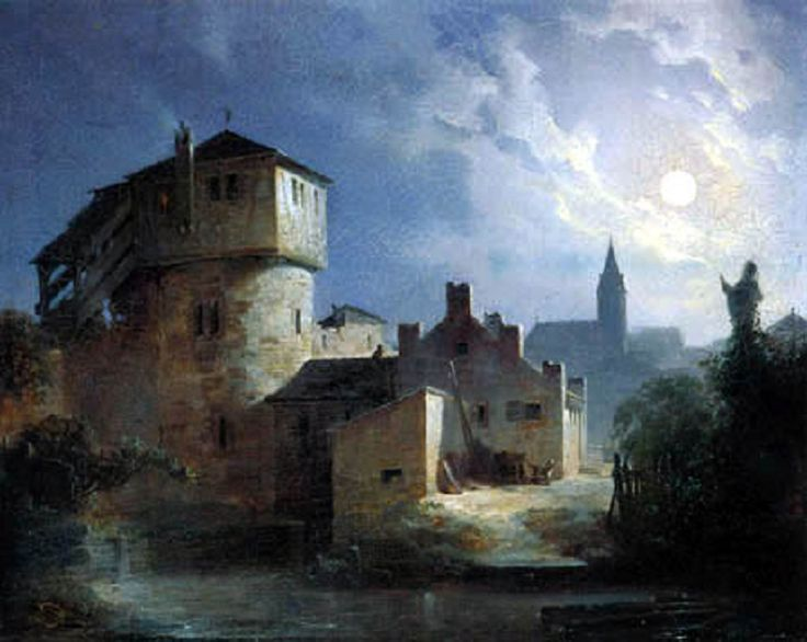 Carl Spitzweg - Clair de Lune sur le village,1832