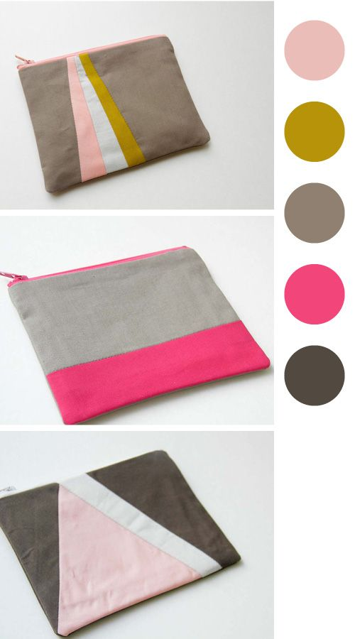 Color blocked pouches