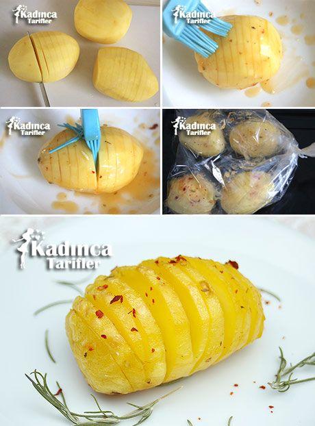 FIRIN POŞETİNDE YELPAZE PATATES TARİFİ http://kadincatarifler.com/firin-posetinde-yelpaze-patates-tarifi