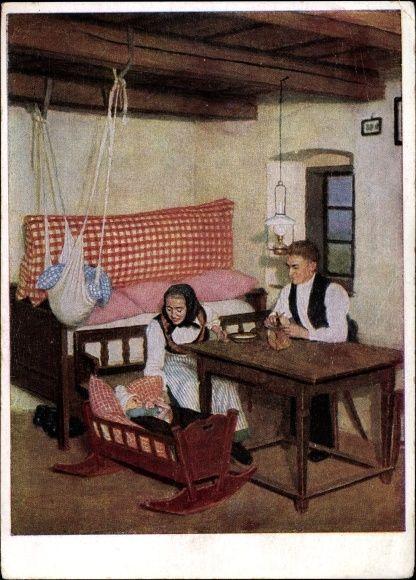 Künstler Ansichtskarte / Postkarte Retzlaff, Hans, Banater Schwaben, Bauernstube in Wolfsberg