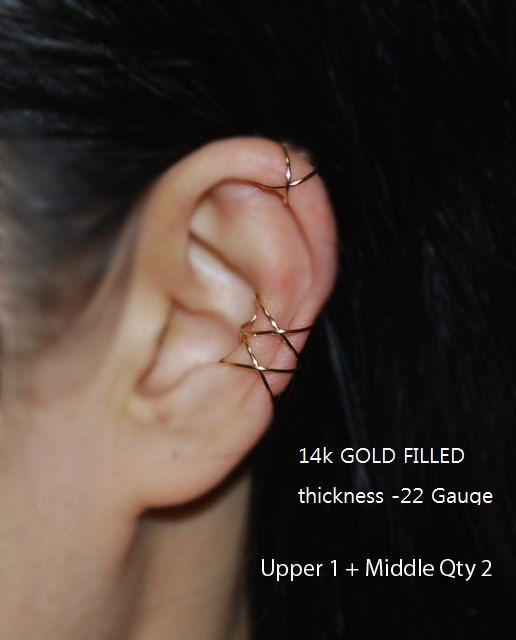 Shipping cost $ 4.5 If you purchase multiple items from my store shipping charges will not be added. < Price per 1 item > The photograph shows an example of the three wears earrings  Best Selling Item in my shop. If you want a modern and stylish ear cuff , please choose this!  <It is possible to choose the thickness of the two types> (A) 24Gauge Electro gold plated wire, antique gold color (This wire is very thin and easily bent. Please be careful when you wear it. ) 22 gauge less than…