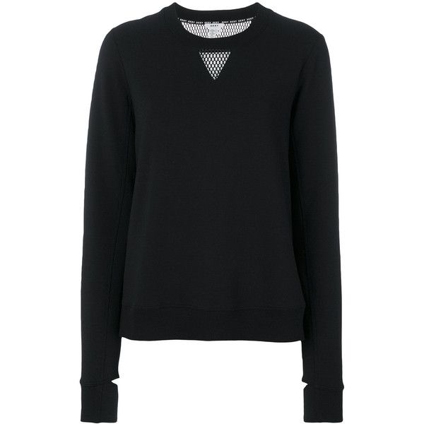 Versace Jeans mesh panel jumper ($575) ❤ liked on Polyvore featuring tops, sweaters, black, jumpers sweaters, versace, mesh panel top, mesh inset top and versace jumper