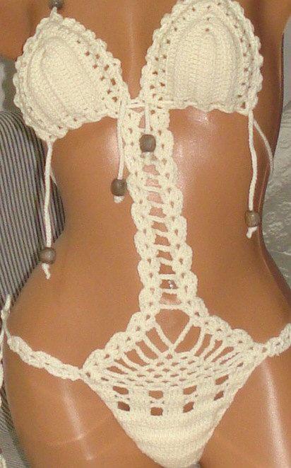 Monokini-Swimsuit-Bikini Top-Crochet Monokini-Beige Swimsuit-Sexy Crochet- Bikinis Sexy Crochet -Bikinis-Swimwear-lace Bikinis