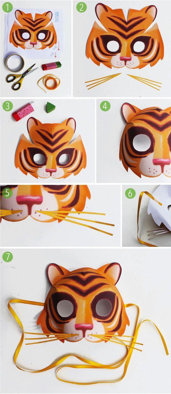Fasching Ideen: Tiger tiermasken basteln diy anleitung einfach